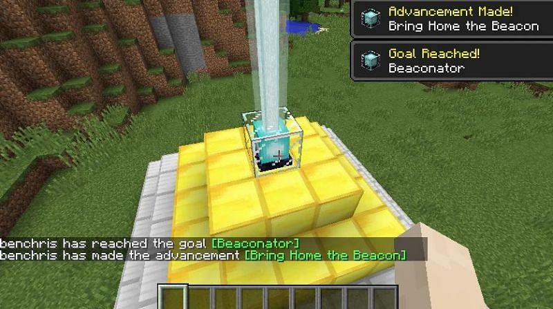 A player receiving both Beacon advancements (Image via minecraft.fandom)
