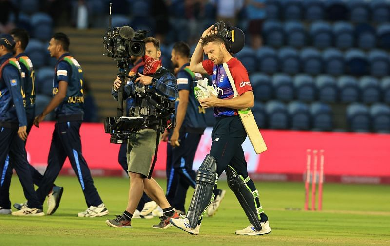 Jos Buttler walks off after England's win in the first T20I. Pic: Getty Images