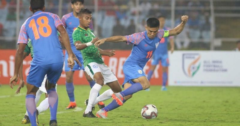 The Indian and Bangladesh football teams played a 1-1 draw earlier in the qualifying campaign. (Image: AFC)