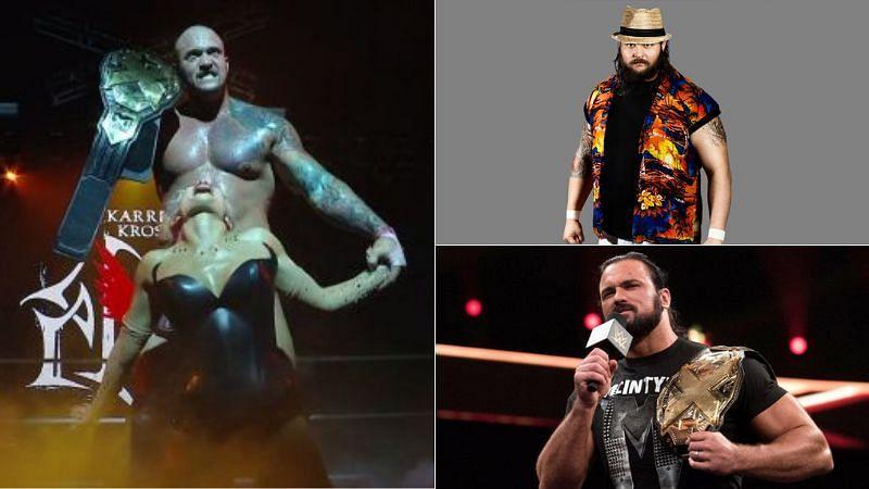 Karrion Kross and Scarlett (left); Bray Wyatt and Drew McIntyre in NXT (right)