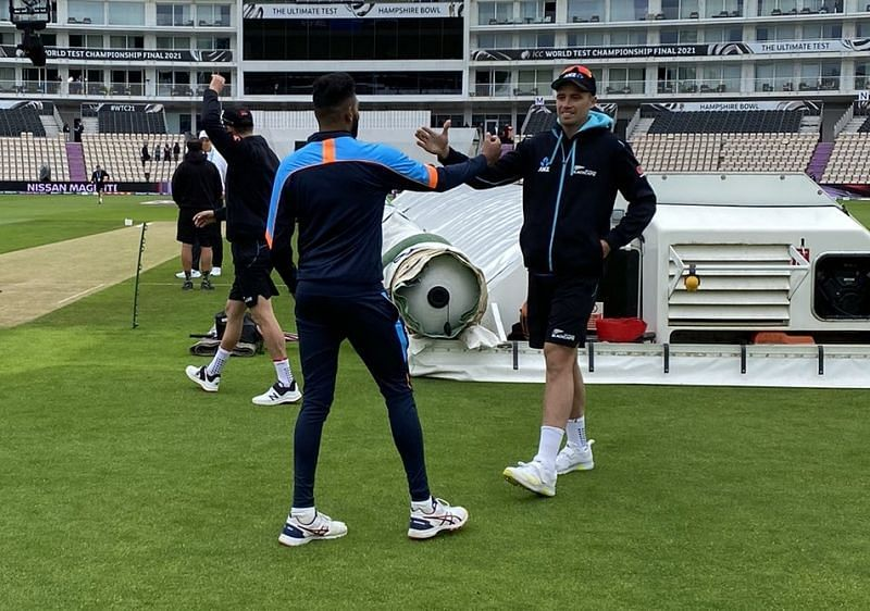 Mohammed Siraj and Tim Southee. Pic: Black Caps/ Twitter