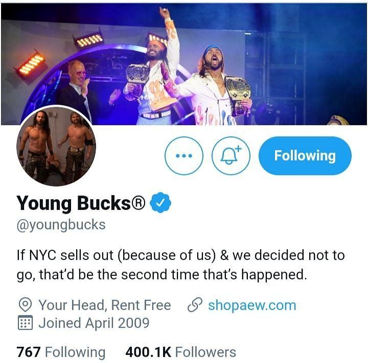 Screengrab of The Young Bucks' Twitter bio