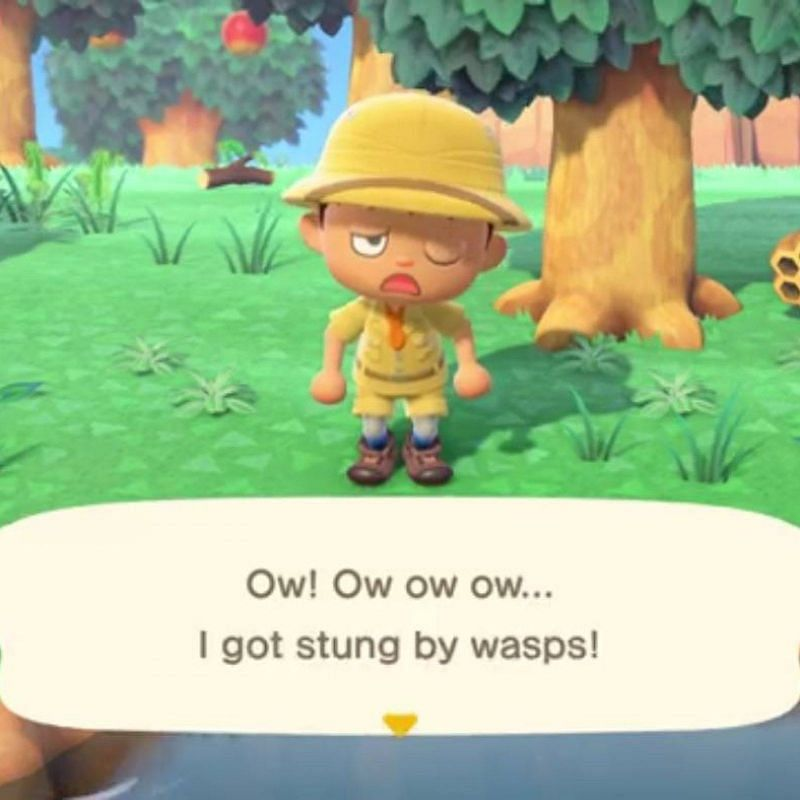 Getting stung by a wasp in Animal Crossing. Image via Newsweek