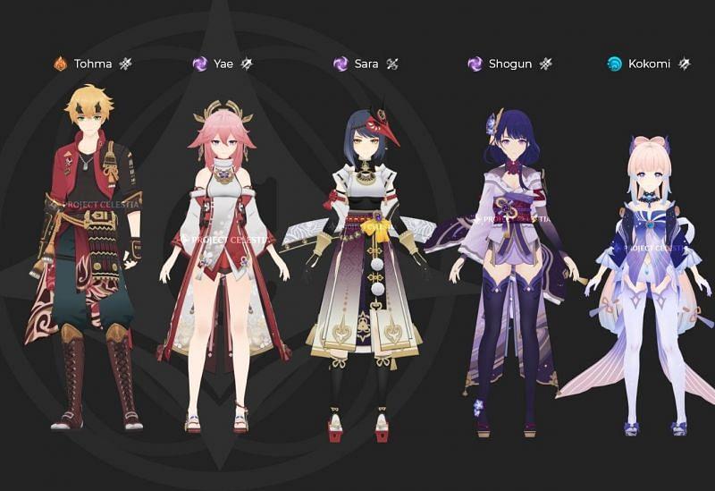 Leaked Inazuma characters (image via Project Celestia)
