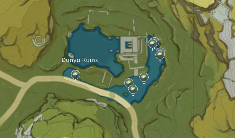 Lotus Head locations in Dunyu Ruins (image via miHoYo)