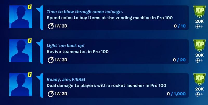 Complete these three easy challenges for XP (Image via Fortnite/Epic Games)