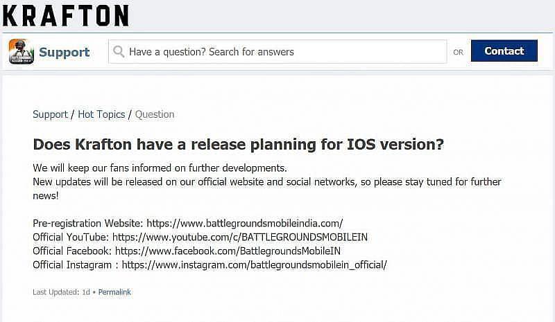 Krafton's response regarding the iOS release of Battlegrounds Mobile India