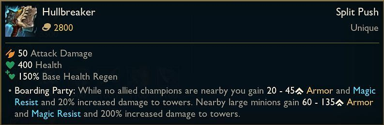 Tentatibe Hullbreaker stats as revealed by Phlox (Image via Riot Games - League of Legends)