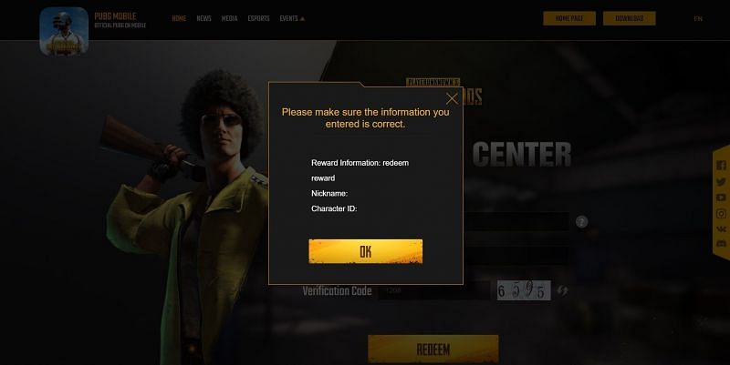 After pressing redeem button, a pop-up will appear asking players to confirm their details