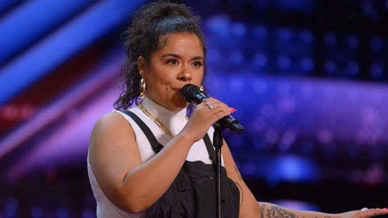 """Brooke Simpson performing Lizzo's """"Cuz I Love You"""" at America's Got Talent Audition (Image via America's Got Talent and NBC/YouTube"""