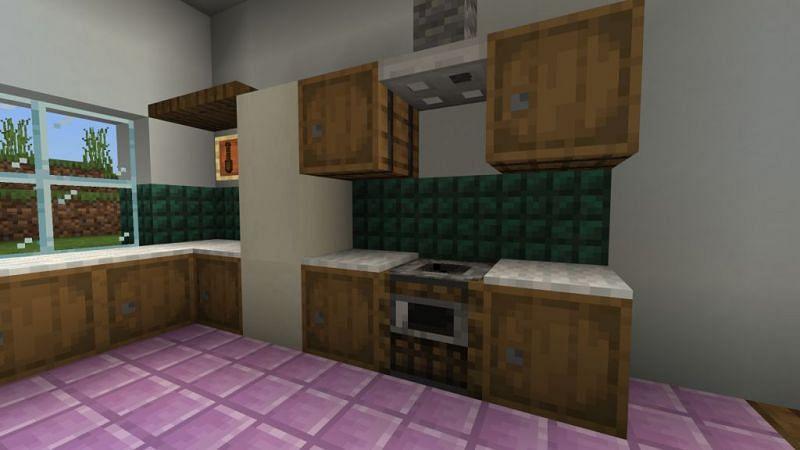 An awesome kitchen design with prismarine (Image via minecraftfurniture.net)