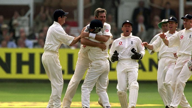 Andy Caddick celebrating after the fall of a wicket
