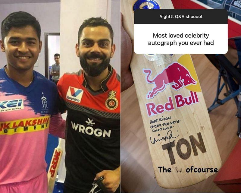 Riyan Parag(L) shared a photo of his Virat Kohli-signed bat on Instagram.