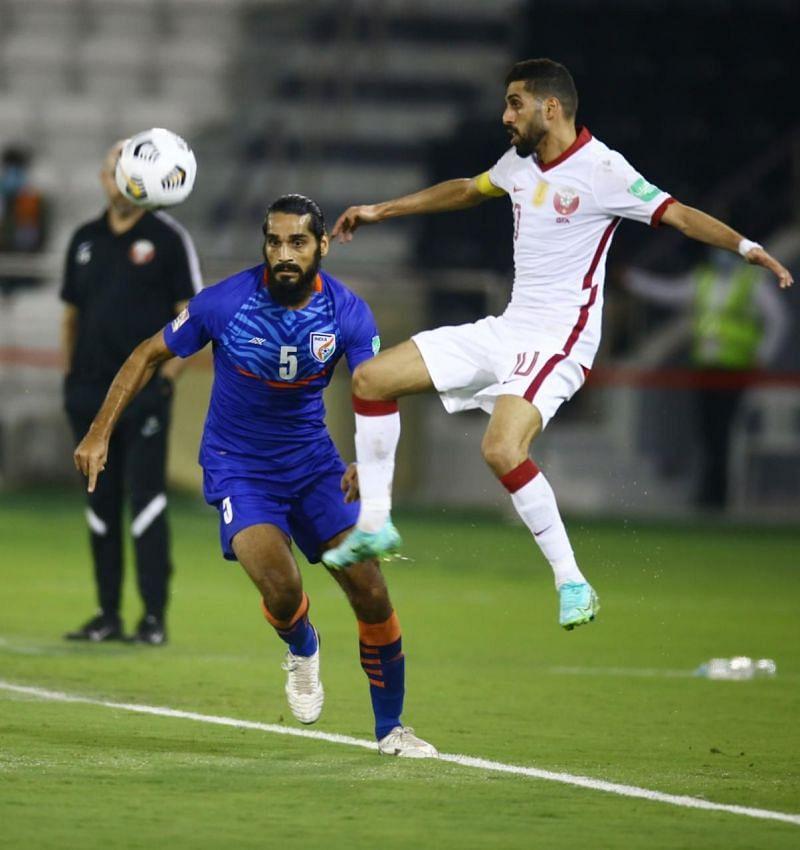 Sandesh Jhingan in action for Indian Football Team against Qatar