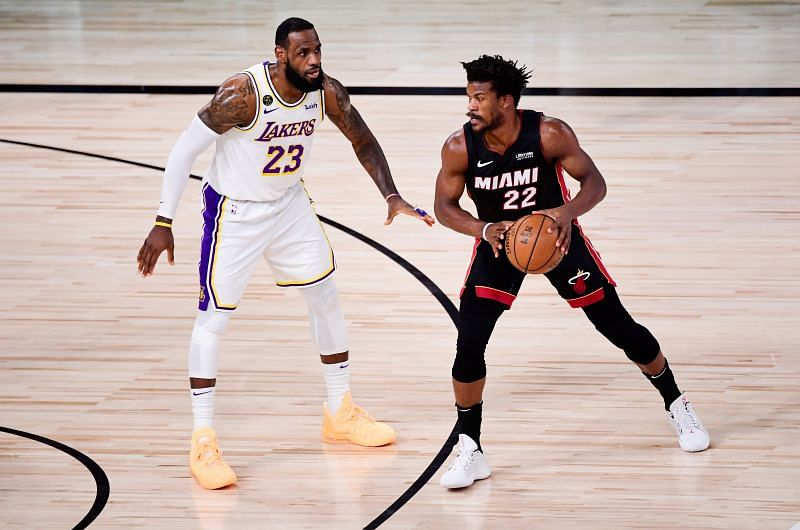 LeBron James (#23) of the LA Lakers defends Jimmy Butler (#22) of the Miami Heat during the 2020 NBA Finals.