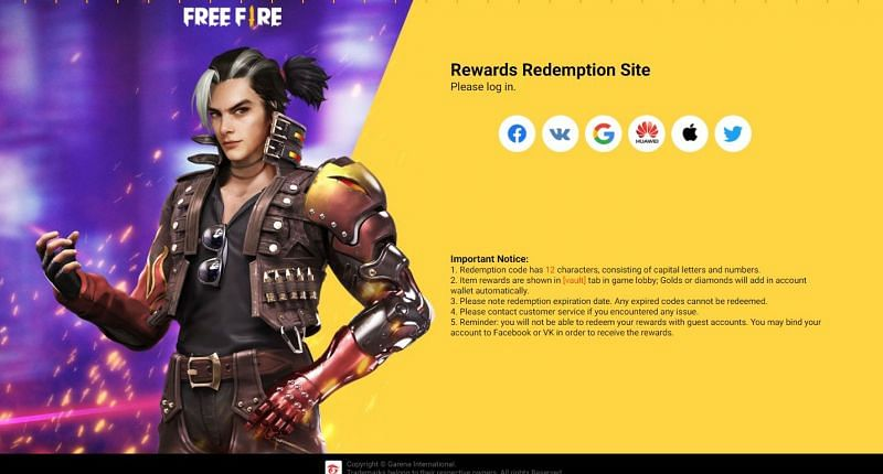 Users must log in on the Rewards Redemption Site using one of the methods