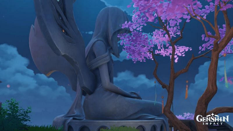 This isn't the Statue of the Seven the player worships, but it does resemble the actual Statue of the Seven found in Inazuma (Image via Wangsheng Funeral Parlor discord)