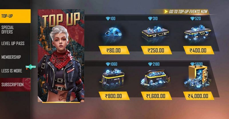 Purchase the required number of diamonds