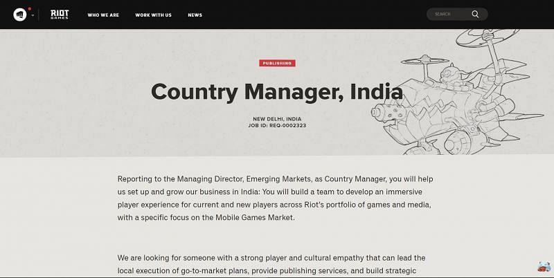 Screenshot of the new Riot Games job listing in India (via riotgames.com)