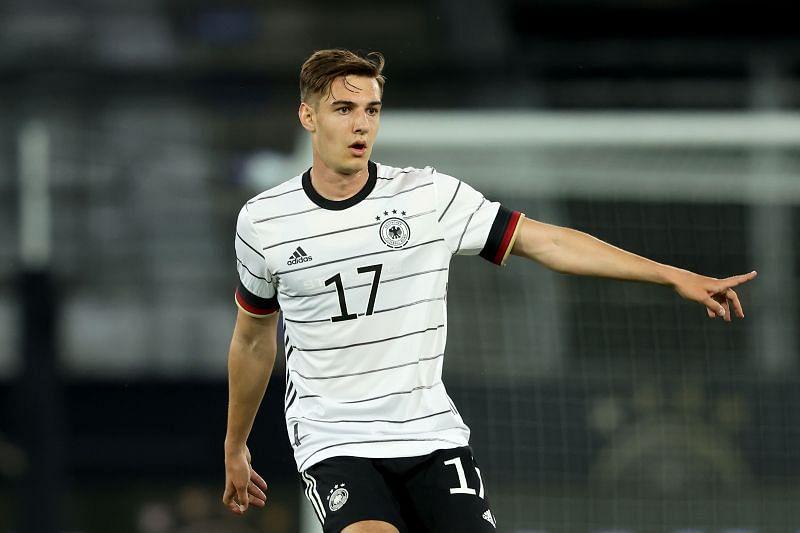 Florian Neuhaus looks on during an international friendly against Denmark