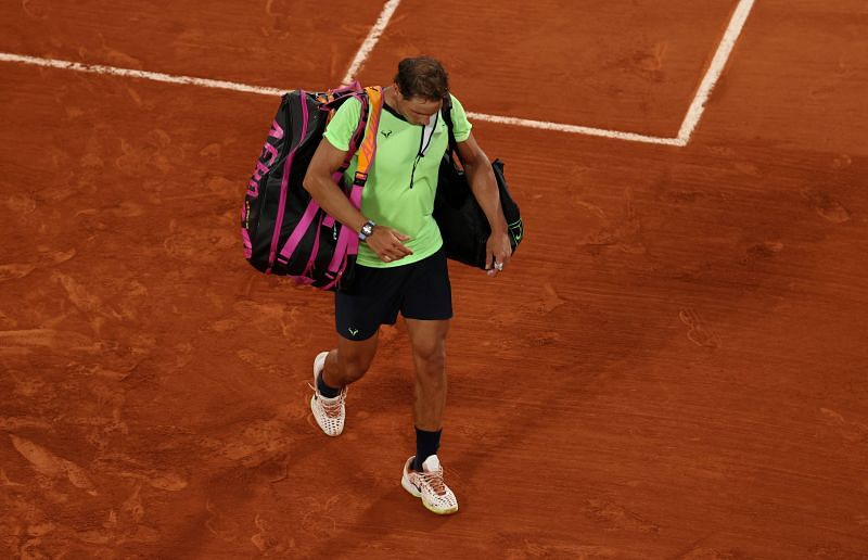 Rafael Nadal leaving the court after his semifinal loss at the 2021 Roland Garros