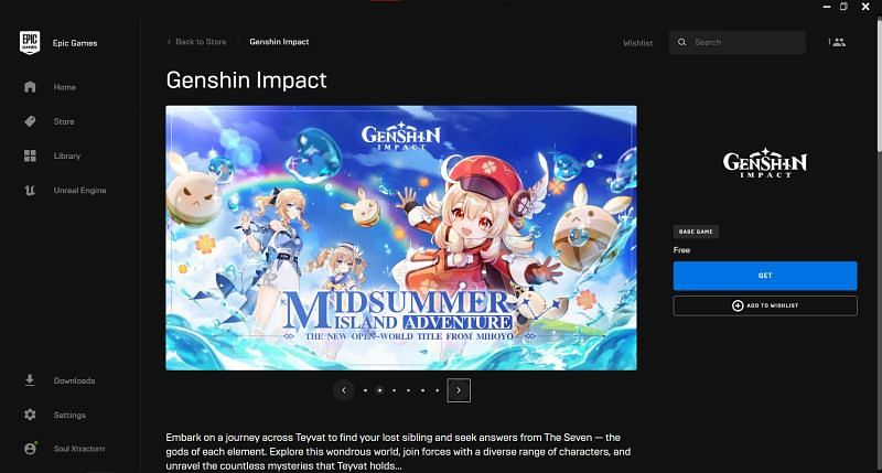 Download Genshin Impact from the Epic Games store