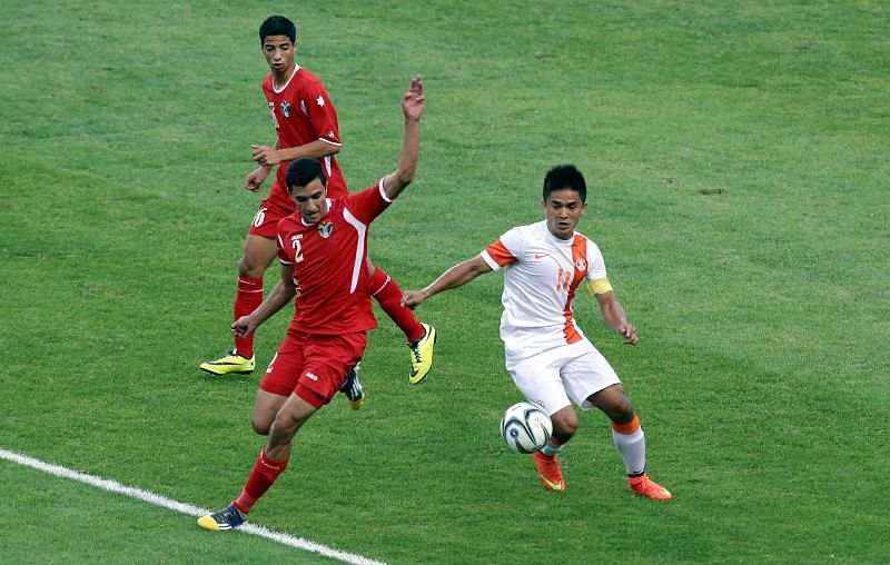 Indian captain Sunil Chhetri. (Photo by Stanley Chou/Getty Images)