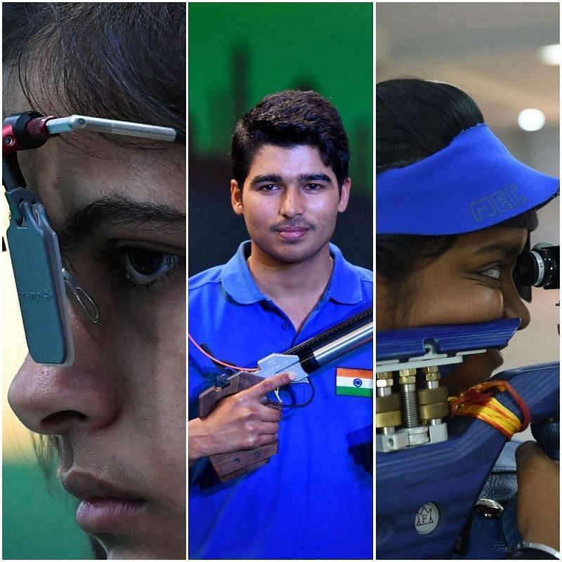 Manu Bhaker (extreme left) and Saurabh Chaudhary (C) are among a new crop of shooters igniting India's hopes for a podium finish at the Tokyo Olympics.