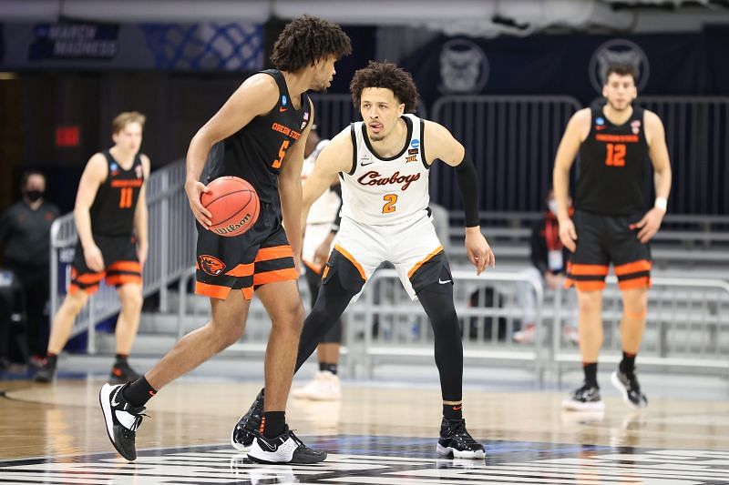 Cade Cunningham #2 of the Oklahoma State Cowboys in action