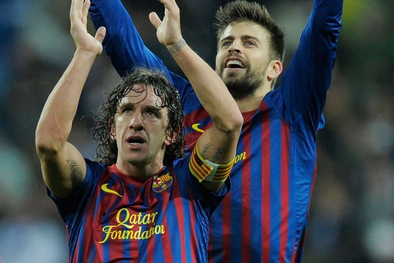 Carles Puyol and Gerard Pique (Cred: Bleacher Report)