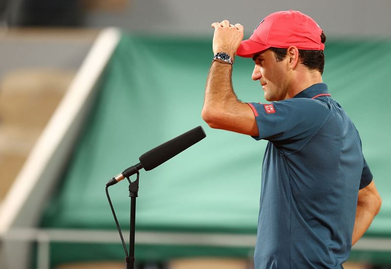 Roger Federer during his on-court interview