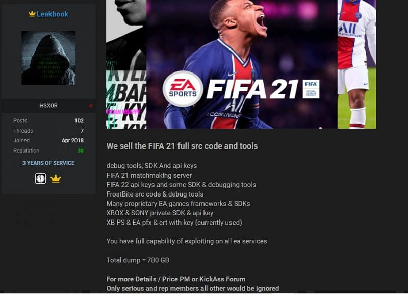 Hackers flexing their theft as they put up FIFA 21's source codes for sale (Screengrab via Raid Forums)
