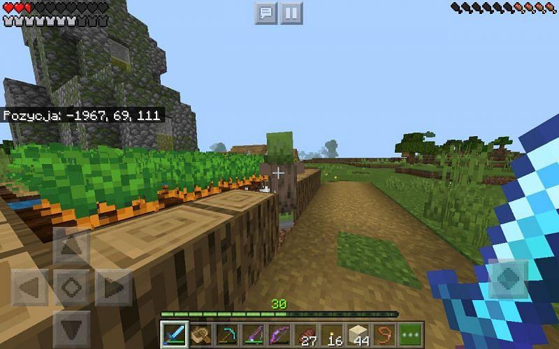 Un abitante di un villaggio zombi bloccato in una ragnatela (Immagine tramite u/spayen-1234 su Reddit)