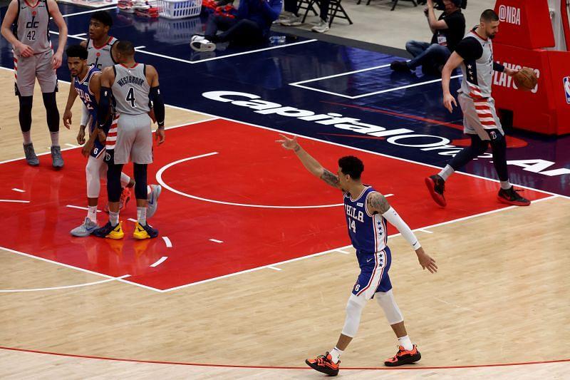 Danny Green #14 of the Philadelphia 76ers celebrates a three point shot