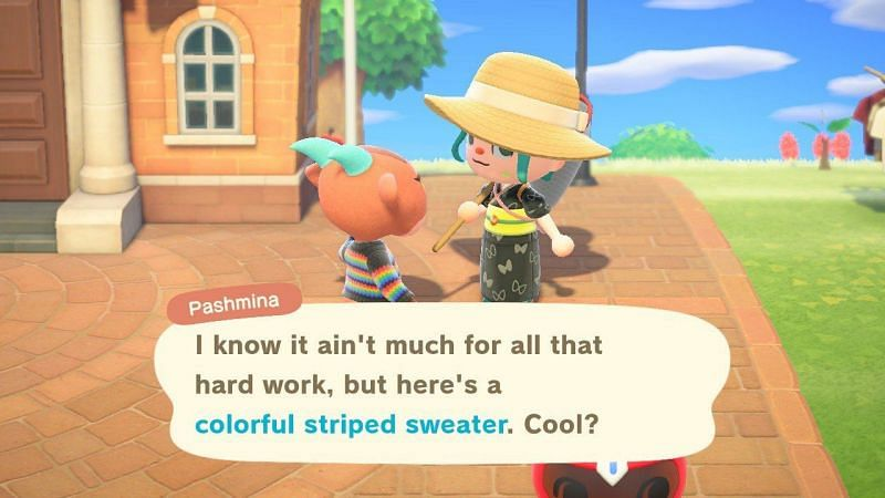 Villager rewarding player for returning lost item in Animal Crossing (Image via Imore)