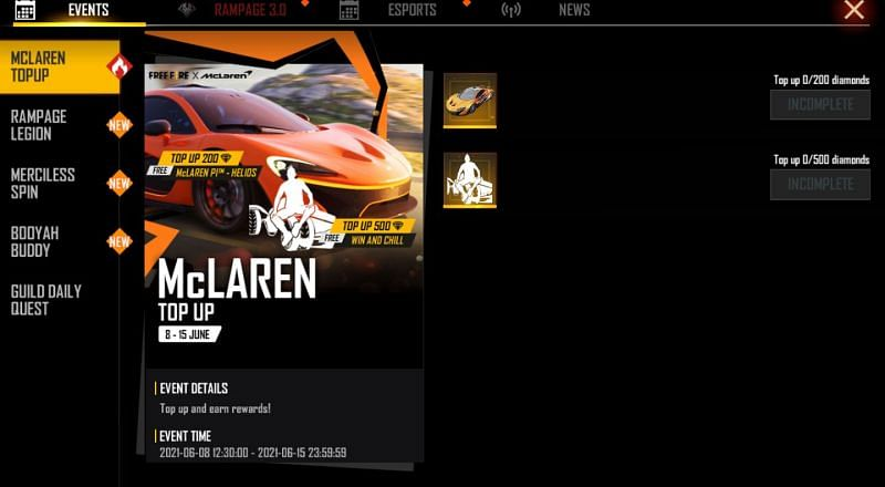 The McLaren Top Up event will end today, on June 15