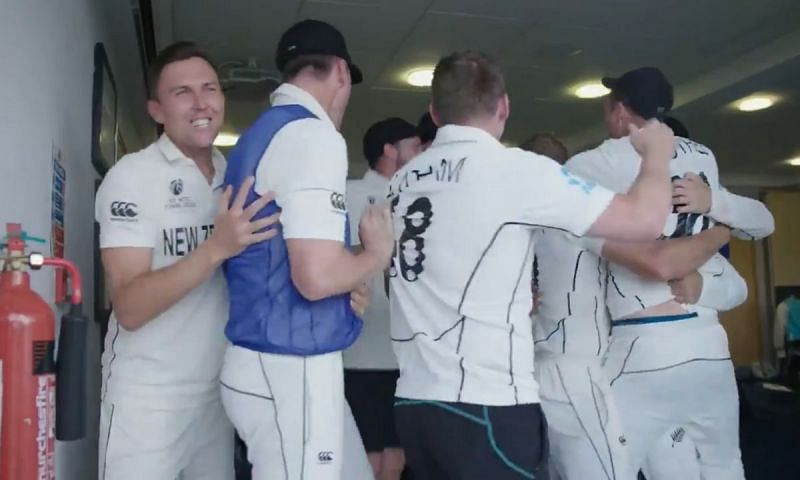 New Zealand players wildly celebrated their win