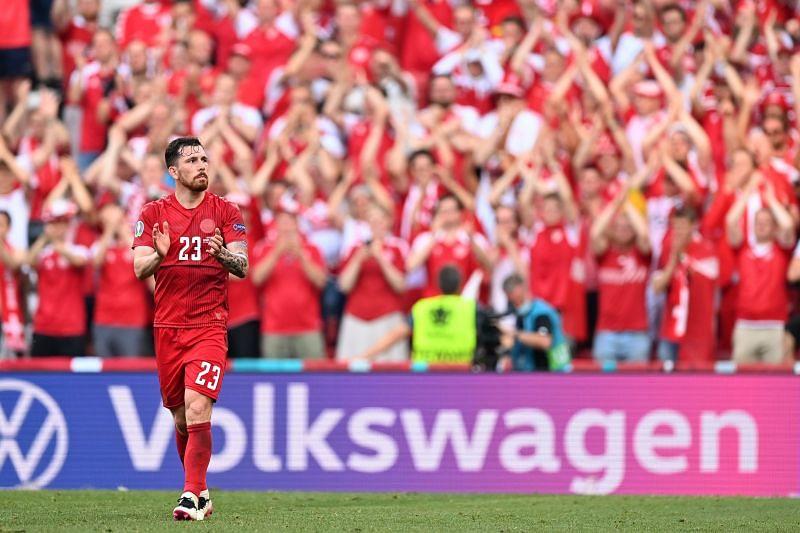 Pierre-Emile Hojbjerg acknowledges the crowd after Denmark
