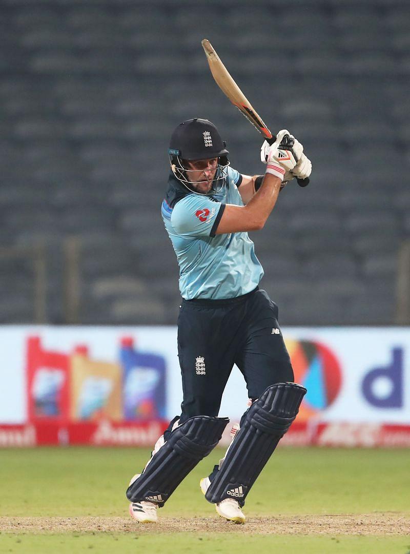 Liam Livingstone in action against India