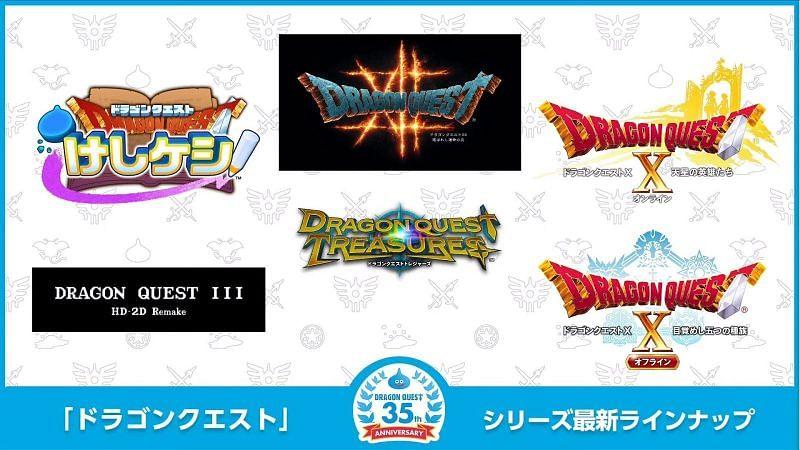 Todos los anuncios de títulos de Dragon Quest para el 35 aniversario de la franquicia (Imagen a través de Square Enix)