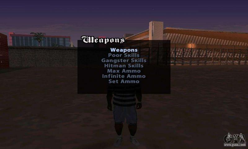 Cheat menu displays cheats in an organized manner (Image via Rockstar Games)