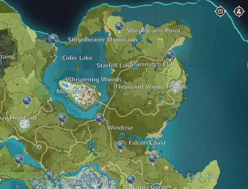 Genshin Impact map: Mondstadt Shrines of Depths (image via miHoYo)