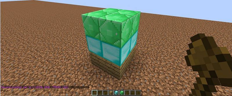 Interact with the block on the opposite corner to complete the selection