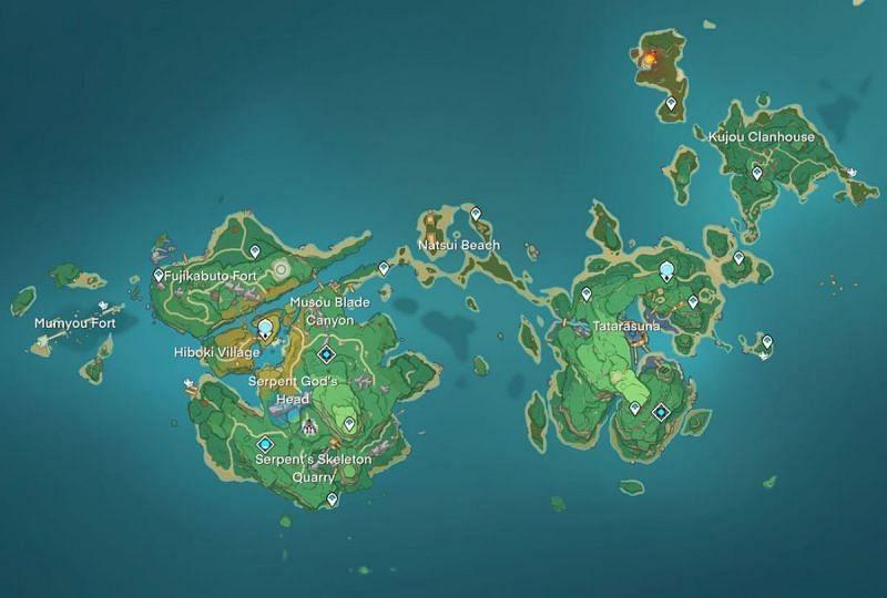 West Inazuma map (image via Genshin Intel)