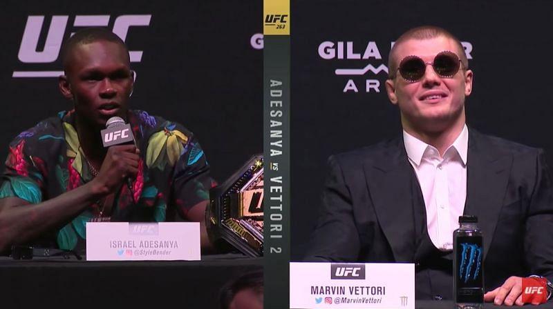 Israel Adesanya and Marvin Vettori at UFC 263 pres-conference