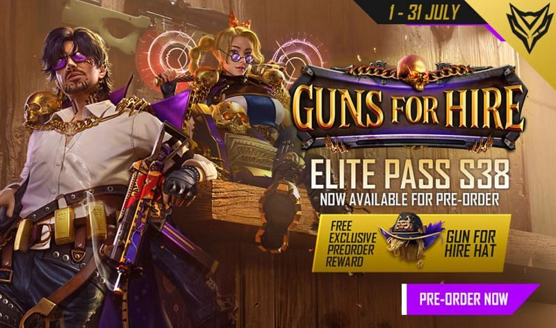 Pre-order for Free Fire Elite Pass Season 38 has begun and will net Gun For Hire hat