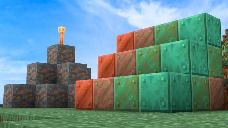 Copper blocks (Image via Minecraft)