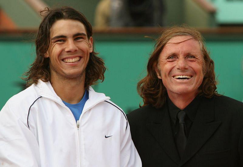 Rafael Nadal (L) and Guillermo Vilas