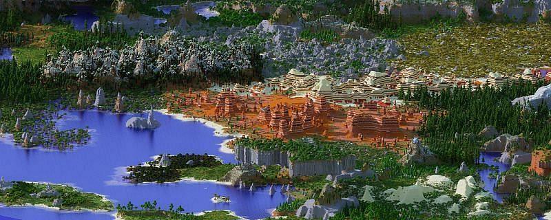 एक फ्रेम में कई अलग-अलग बायोम (छवि minecraftlore.com के माध्यम से)