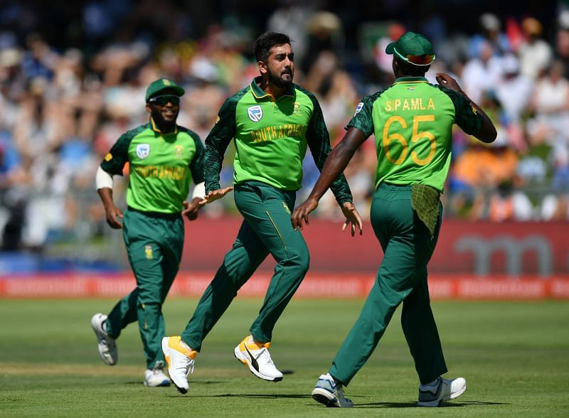 Tabraiz Shamsi (C) was a bit confused after he became the world number one T20I bowler